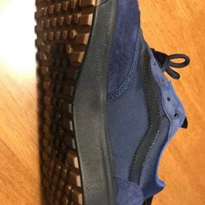 Van's dark blue and black suede leather and canvas